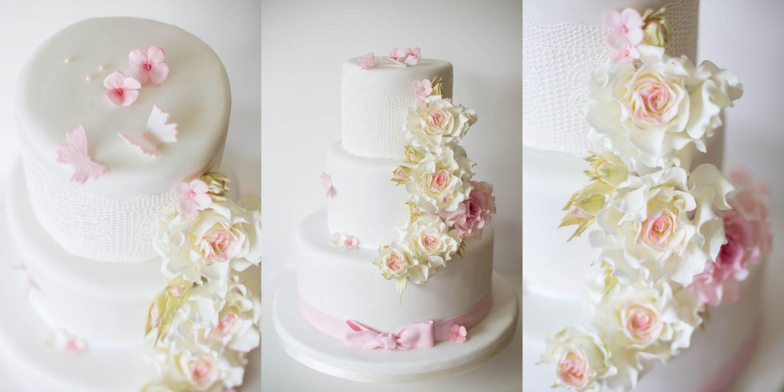 Rosen modelliert aus Blütenpaste, Hochzeitstorte von suess-und-salzig