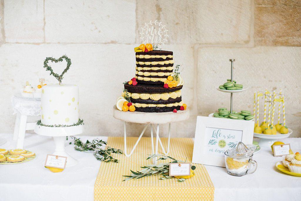 sweet table hochzeit gelb