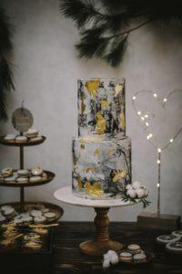 Hochzeitstorte Concrete Cake Winterhochzeit